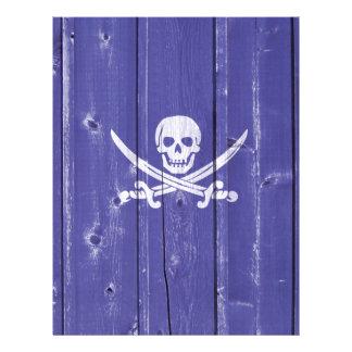 Fun skull cross swords on blue wood panel printed 21.5 cm x 28 cm flyer