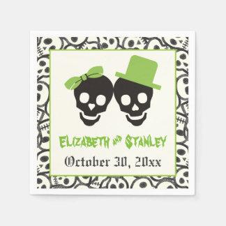 Fun skulls Halloween green and black wedding Disposable Napkin