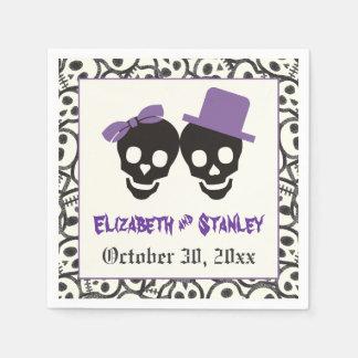 Fun skulls Halloween purple and black wedding Disposable Napkin