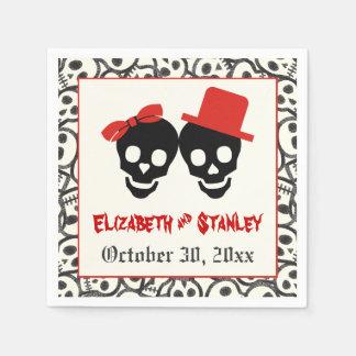 Fun skulls Halloween red and black wedding Disposable Serviette