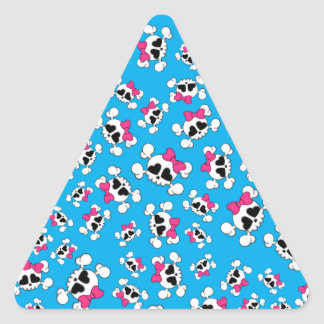 Fun sky blue skulls and bows pattern triangle sticker