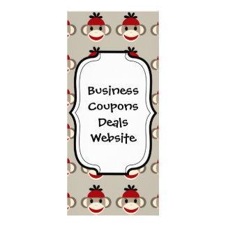 Fun Smiling Red Sock Monkey Happy Patterns Rack Card Template