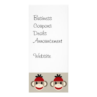 Fun Smiling Red Sock Monkey Happy Patterns Rack Card Design