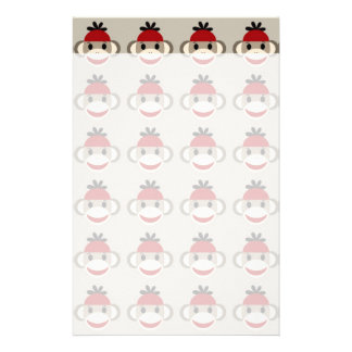 Fun Smiling Red Sock Monkey Happy Patterns Personalized Stationery