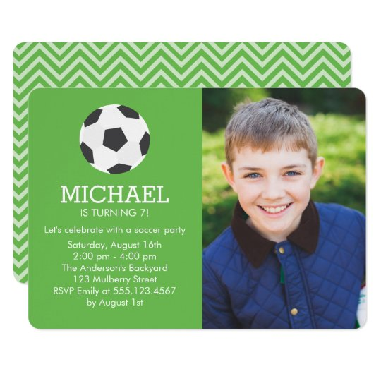 Fun Soccer Themed Photo Birthday Party Card