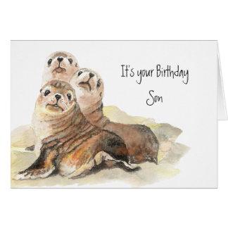 """Fun Son """"Don't grow up """" Cute Seals Greeting Card"""