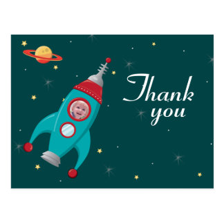 Fun space rocket birthday thank you photo postcard