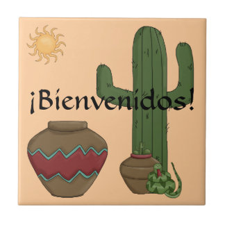 Fun Spanish Welcome Southwestern Desert Scene Small Square Tile