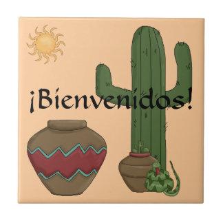Fun Spanish Welcome Southwestern Desert Scene Small Square Tile