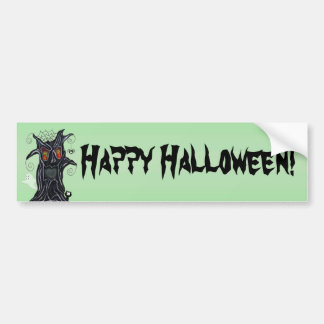 Fun spooky Black Tree Flame Eyes Happy Halloween Bumper Sticker