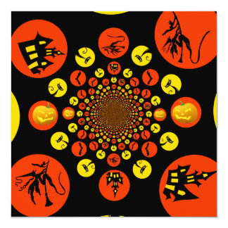 Fun Spooky Halloween Kaleidoscope Pattern 5.25x5.25 Square Paper Invitation Card