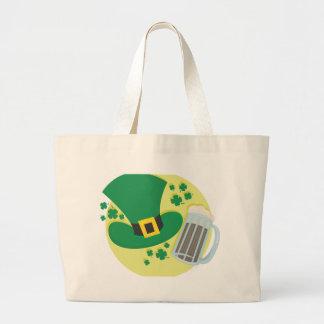 Fun St Patricks Day Beer Design Jumbo Tote Bag