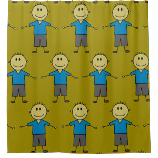Fun Stick Boy Figures Pattern Shower Curtain