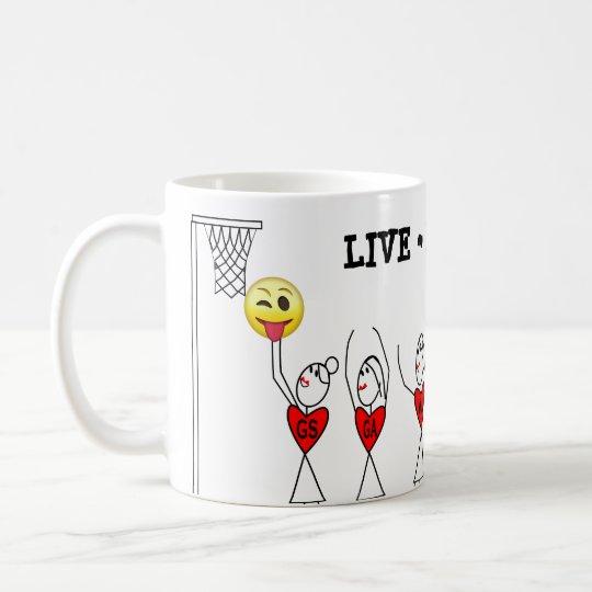 Fun Stick Figure Players Netball Coffee Mug
