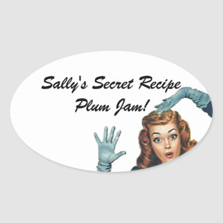 Fun Sticker Retro Lady Home Canning Secret Recipe