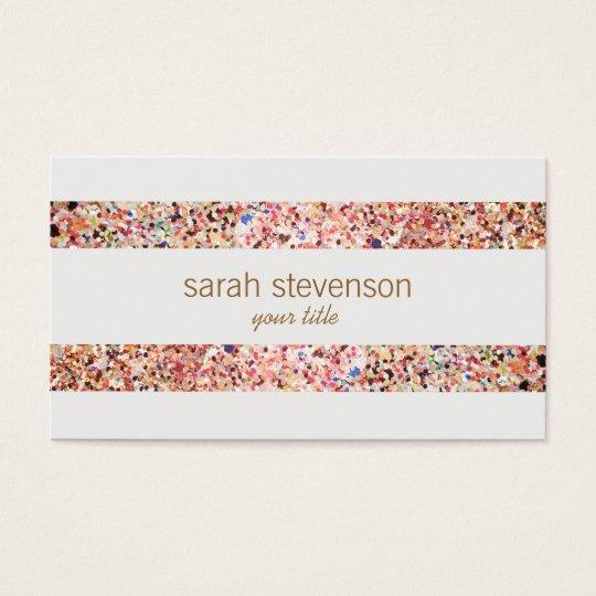 Fun Stripes Colourful Glitter Look Business Card 4