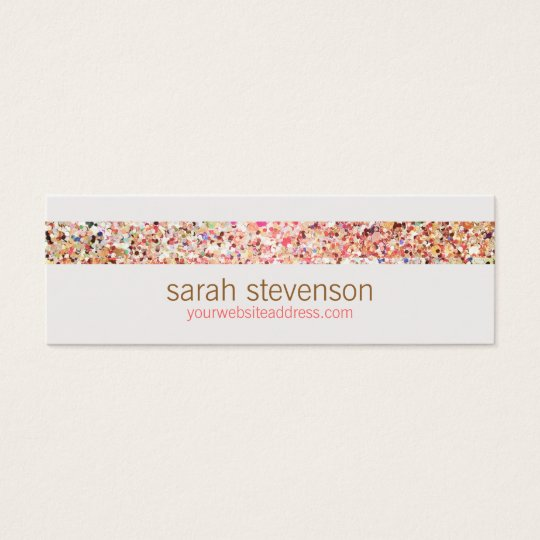 Fun Stripes Colourful Glitter Look Business Card 5