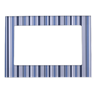 Fun Stripes Pattern in Shades of Blue Magnetic Picture Frame