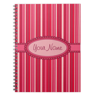 Fun Stripes Pattern in Shades of Pink Spiral Note Books