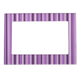 Fun Stripes Pattern in Shades of Purple Magnetic Frame