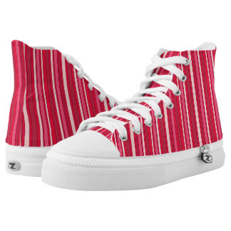 Fun Stripey Hipster Reds and Pinks Pattern High Tops