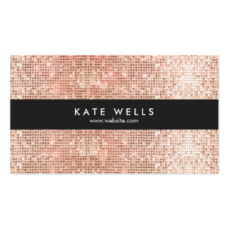 Fun Stylish Faux Rose Gold Sequin Black Striped Pack Of Standard Business Cards