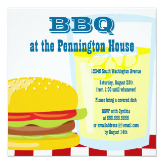 Fun summer BBQ (barbeque) grill party invitation