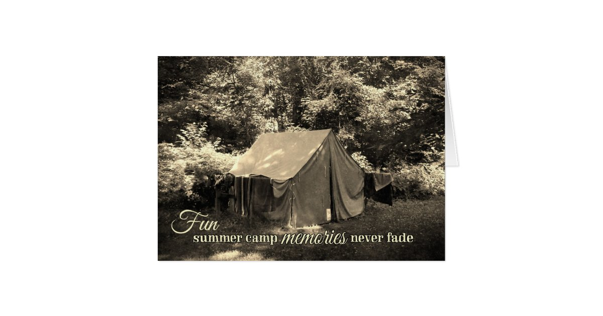 Madeline S Memories Vintage Christmas Cards: Fun Summer Camp Memories Never Fade-Vintage Tent Greeting