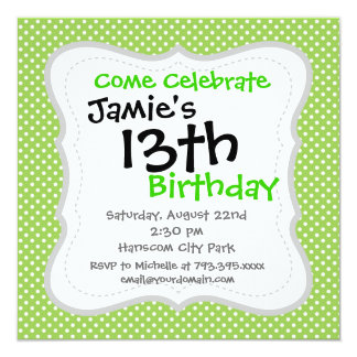 Fun Summer Lime Green and White Polka Dot Pattern 13 Cm X 13 Cm Square Invitation Card