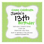 Fun Summer Lime Green and White Polka Dot Pattern Invitations