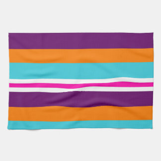 Fun Summer Pink Teal Orange Purple Striped Pattern Kitchen Towels