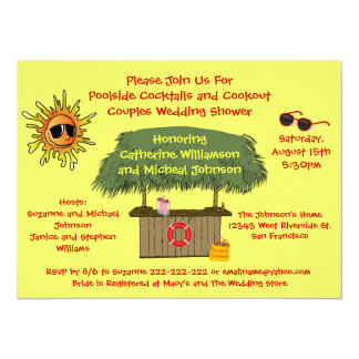 Fun Summer Tiki Hut Cookout Couples Bridal Shower 14 Cm X 19 Cm Invitation Card