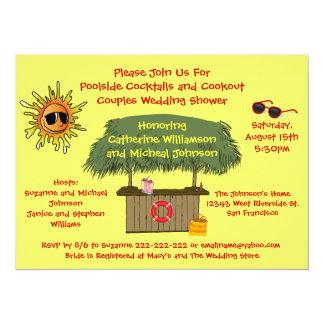 "Fun Summer Tiki Hut Cookout Couples Bridal Shower 5.5"" X 7.5"" Invitation Card"