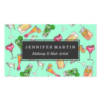 Fun Summer Watercolor Painted Mixed Drinks Pattern Pack Of Standard Business Cards