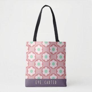 Fun Summery Raspberry Pink Floral Print Tote Bag