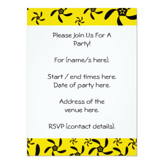 Fun sunny yellow and black flower design. 17 cm x 22 cm invitation card