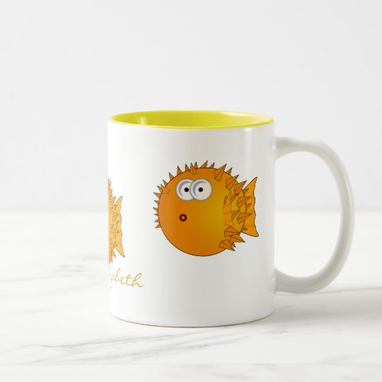 Fun Surprised Puffer Fish Two-Tone Coffee Mug
