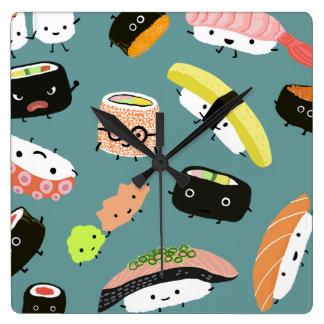 Fun Sushi Characters on Teal (Customizable) Square Wall Clock
