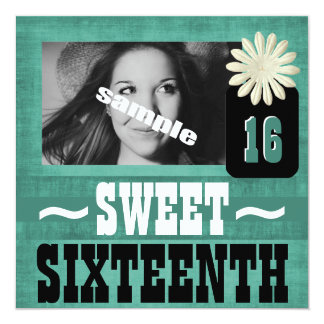 Fun Sweet Sixteenth Party for Country Girls 5.25x5.25 Square Paper Invitation Card