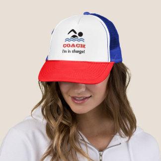 Fun swimming coach custom name trucker hat