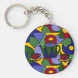 Fun Tea Abstract Art Design Key Chain
