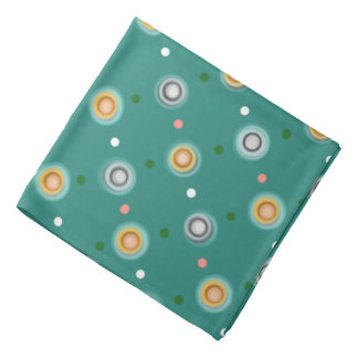 Fun Teal and Orange Polka Dot Bandana