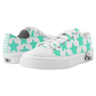Fun Teal Stars Pattern Zipz Shoes Printed Shoes