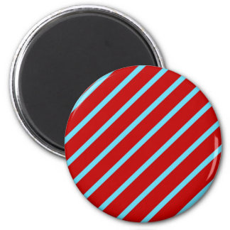 Fun Teal Turquoise Red Diagonal Stripes Gifts 6 Cm Round Magnet
