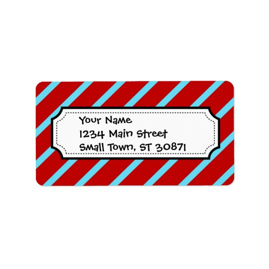 Fun Teal Turquoise Red Diagonal Stripes Gifts Address