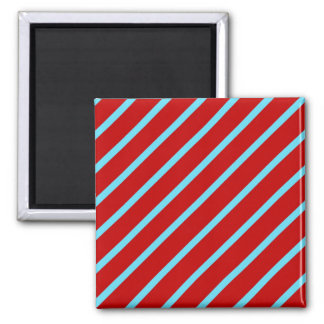 Fun Teal Turquoise Red Diagonal Stripes Gifts Square Magnet