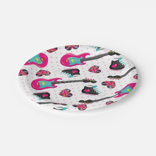 Fun teen girl Rock star party paper plates