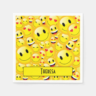 Fun Teenager Yellow Smiley Faces Emoji Party Paper Serviettes