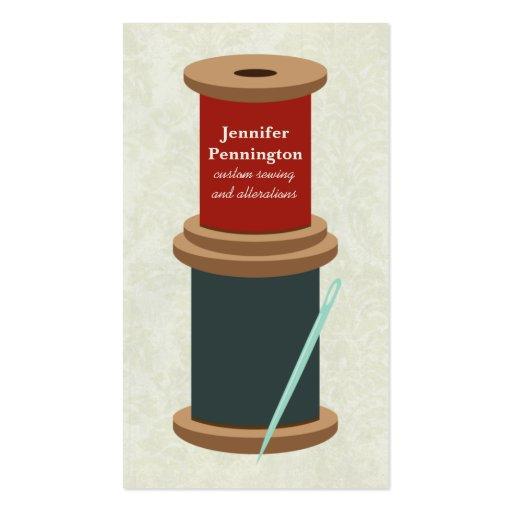 Fun thread and needle custom sewing business card
