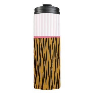Fun Tiger Print & Pink Stripes Thermal Tumbler